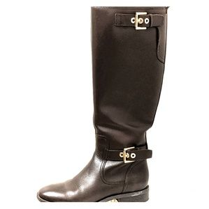 Knee-high boots gold buckle detail